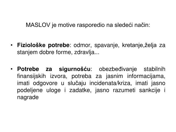 MASLOV je motive rasporedio na sledeći način: