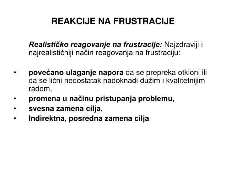 REAKCIJE NA FRUSTRACIJE