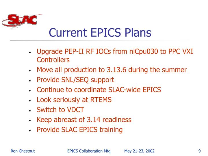 Current EPICS Plans