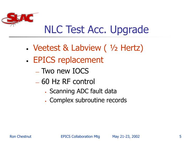 NLC Test Acc. Upgrade