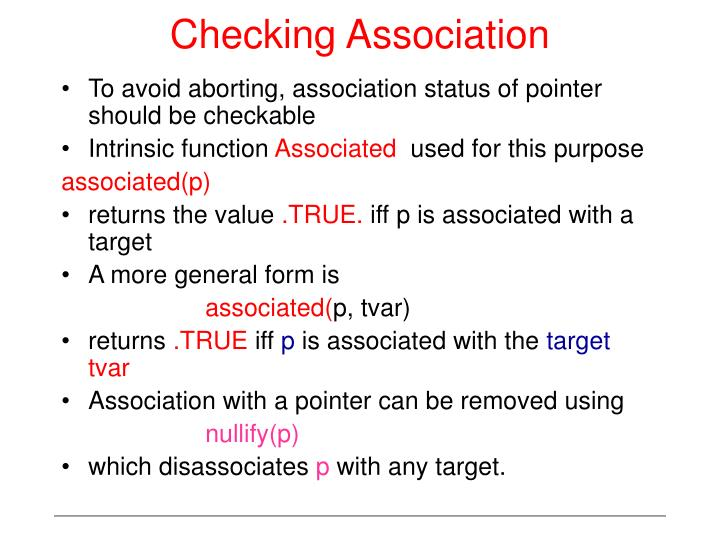 Checking Association