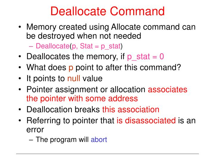 Deallocate Command