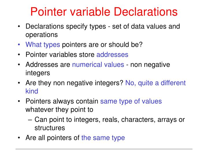 Pointer variable Declarations