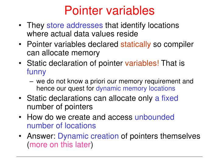 Pointer variables