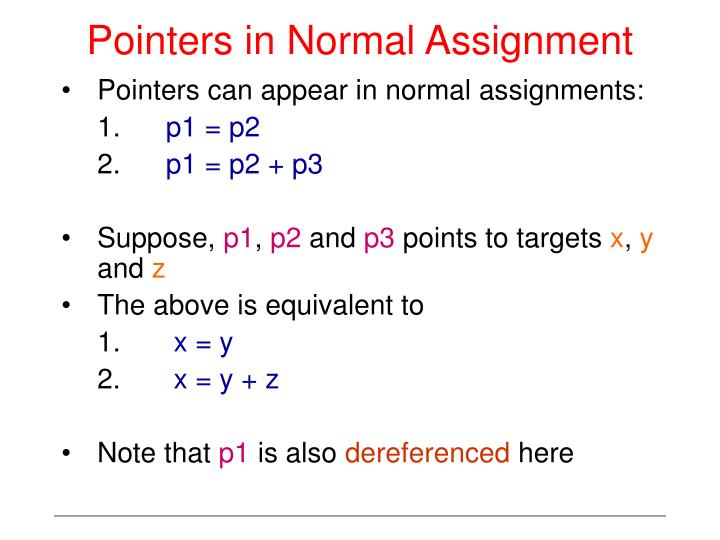 Pointers in Normal Assignment