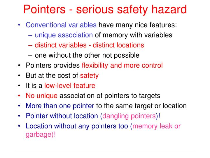 Pointers - serious safety hazard