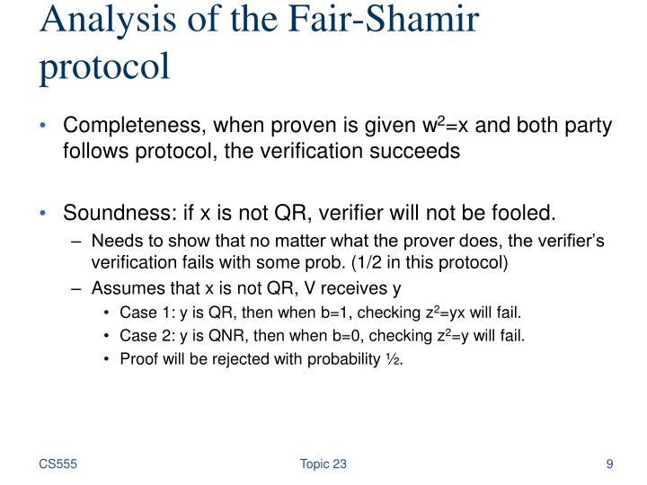 Analysis of the Fair-Shamir protocol