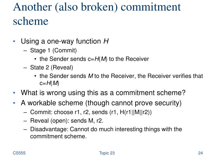 Another (also broken) commitment scheme