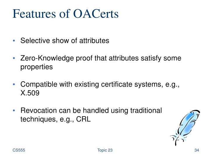 Features of OACerts