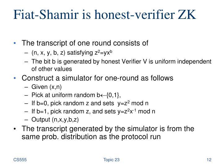 Fiat-Shamir is honest-verifier ZK