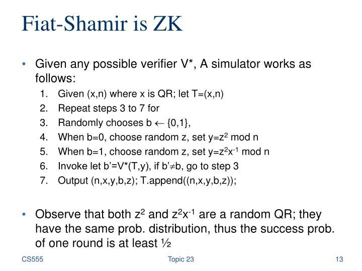Fiat-Shamir is ZK