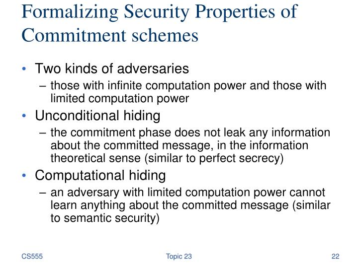 Formalizing Security Properties of Commitment schemes