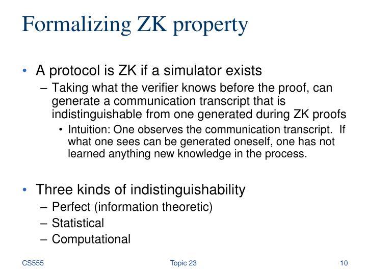Formalizing ZK property