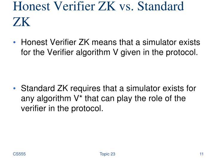 Honest Verifier ZK vs. Standard ZK