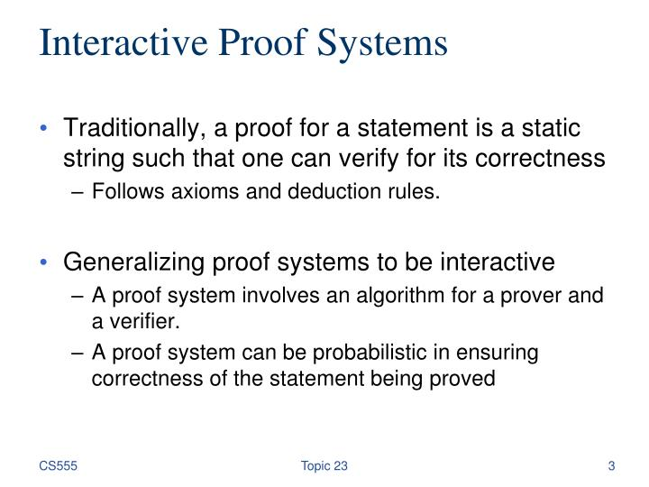 Interactive proof systems