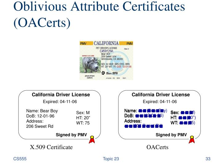 Oblivious Attribute Certificates (OACerts)