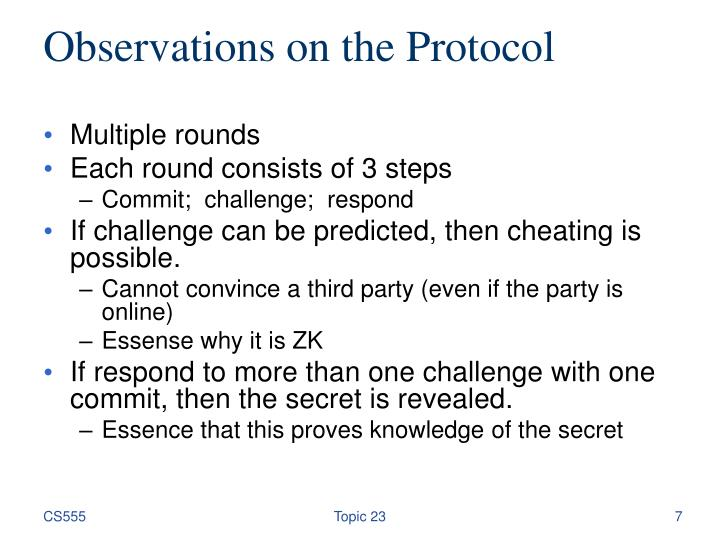 Observations on the Protocol