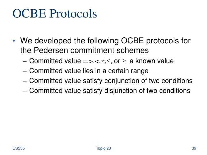 OCBE Protocols