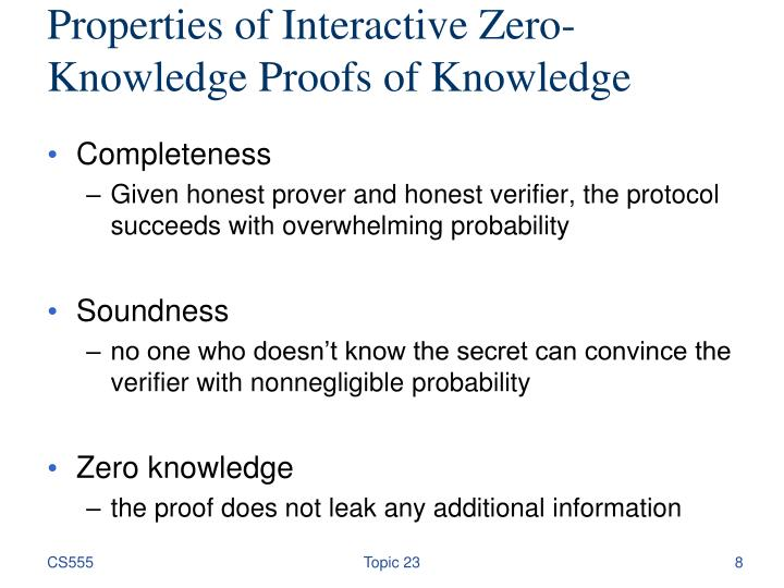 Properties of Interactive Zero-Knowledge Proofs of Knowledge