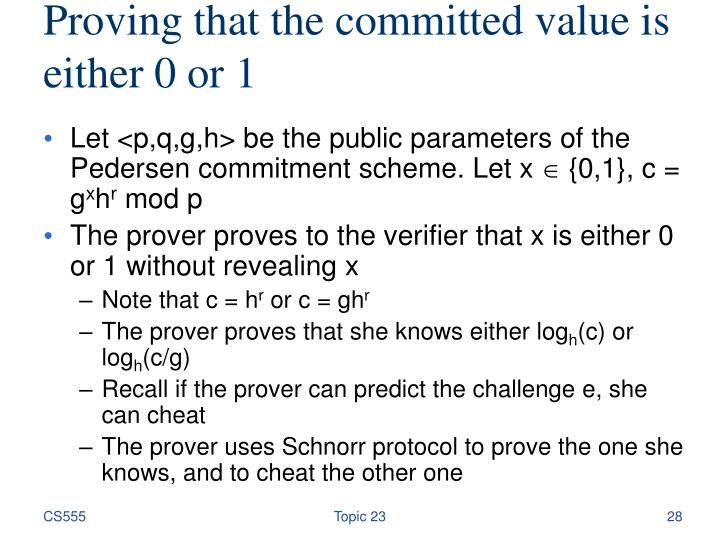 Proving that the committed value is either 0 or 1