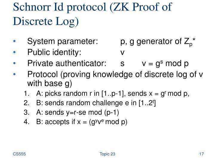 Schnorr Id protocol (ZK Proof of Discrete Log)