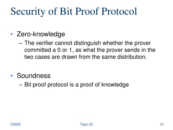 Security of Bit Proof Protocol