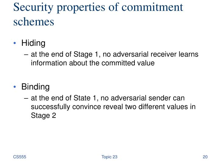 Security properties of commitment schemes