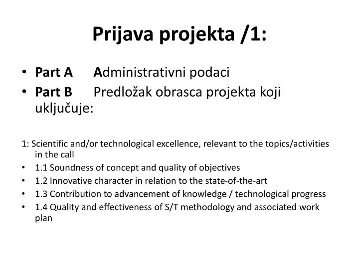 Prijava projekta