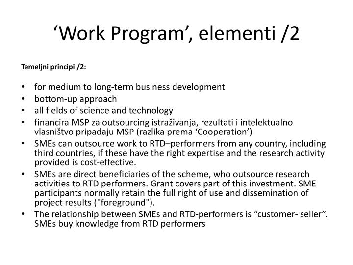 'Work Program', elementi
