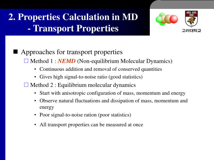 2. Properties Calculation in MD