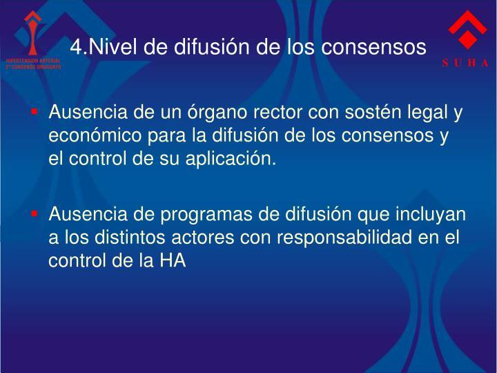 4.Nivel de difusión de los consensos