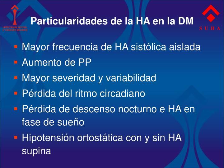 Particularidades de la HA en la DM