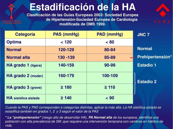 Estadificación de la HA