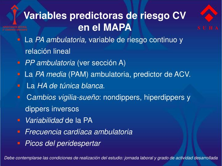 Variables predictoras de riesgo CV en el MAPA