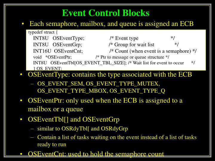Event control blocks