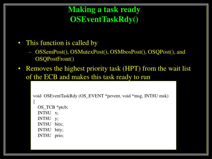 Making a task ready