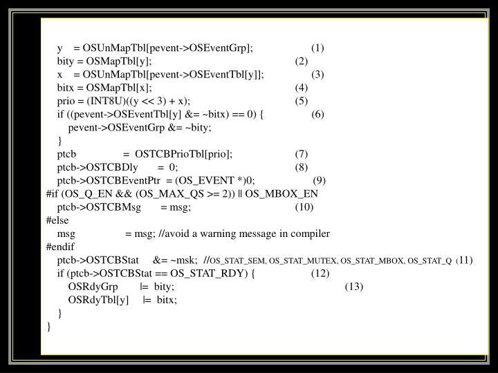y    = OSUnMapTbl[pevent->OSEventGrp];                     (1)