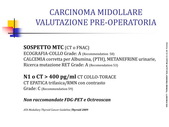 CARCINOMA MIDOLLARE VALUTAZIONE PRE-OPERATORIA