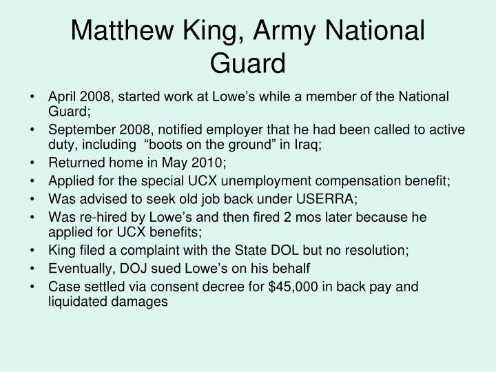 Matthew King, Army National Guard