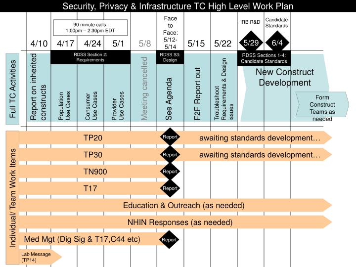 Security, Privacy & Infrastructure TC High Level Work Plan