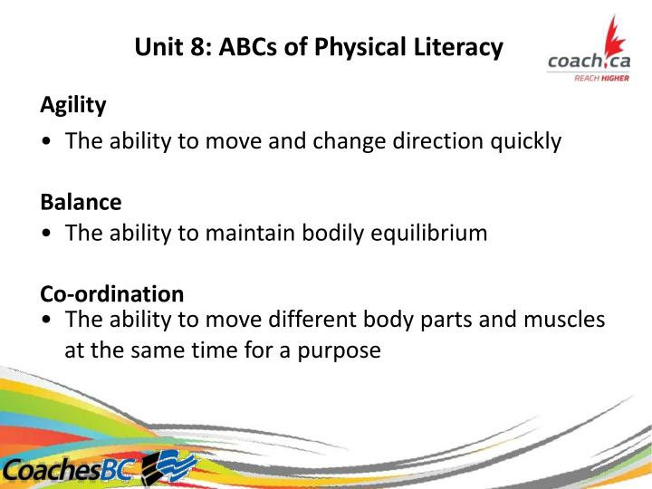 Unit 8: ABCs of Physical Literacy