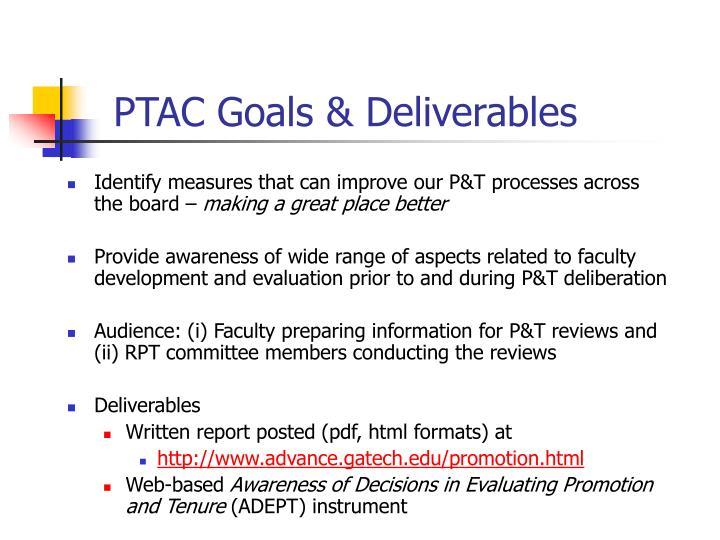 PTAC Goals & Deliverables