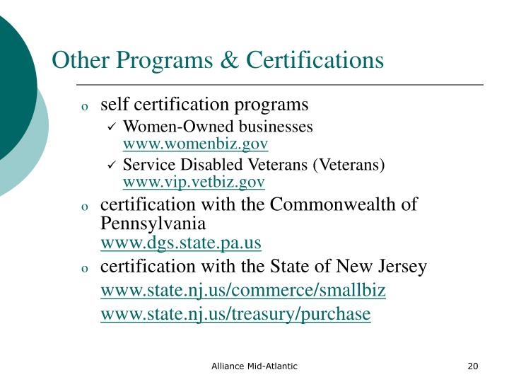 Other Programs & Certifications
