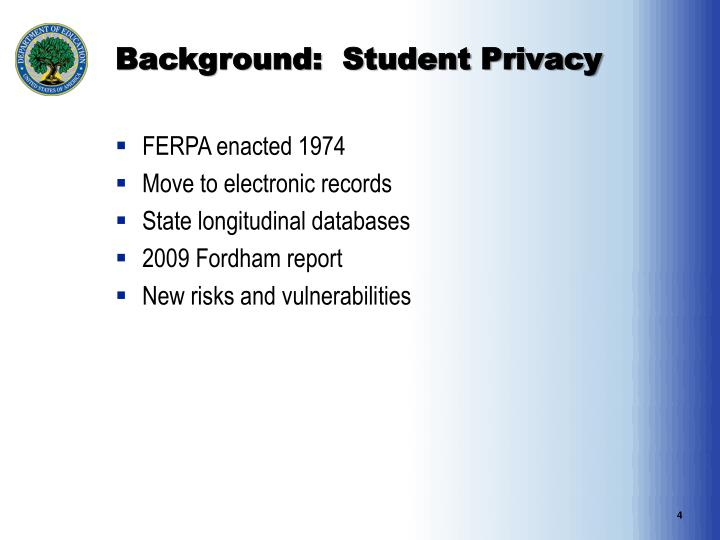 Background:  Student Privacy