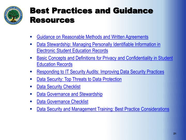 Best Practices and Guidance Resources
