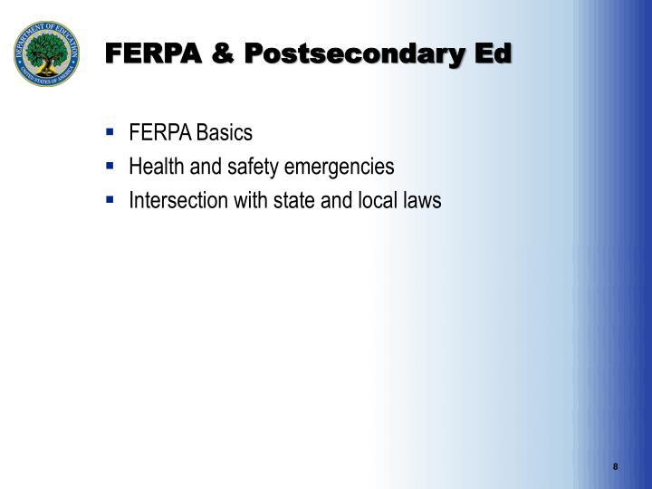FERPA & Postsecondary Ed