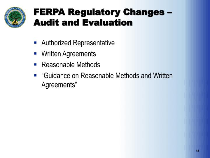 FERPA Regulatory Changes – Audit and Evaluation
