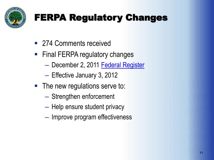 FERPA Regulatory Changes