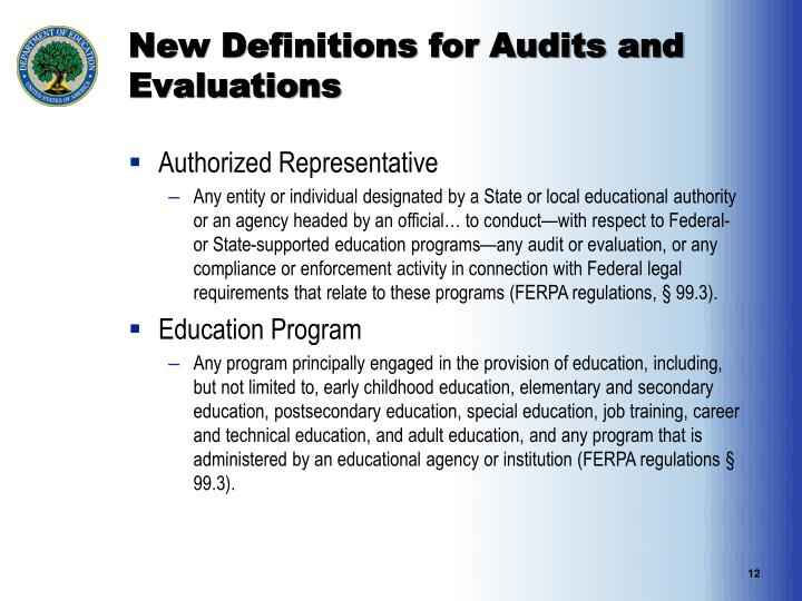 New Definitions for Audits and Evaluations