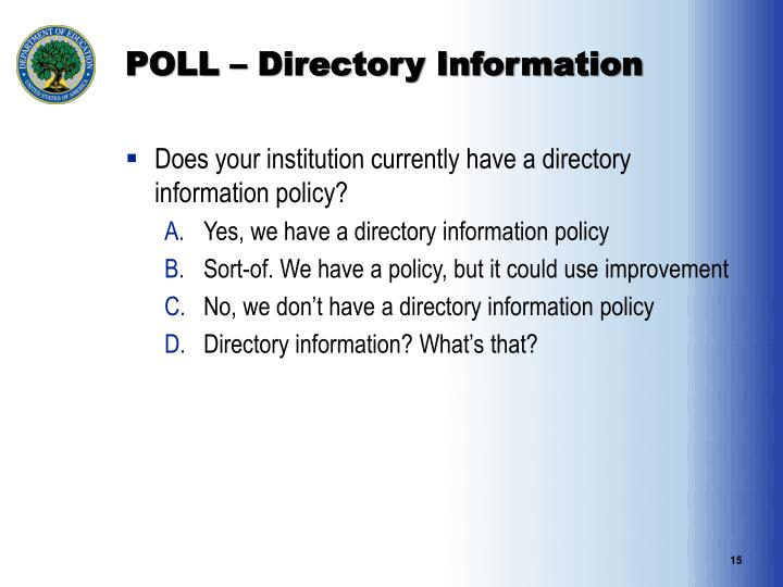 POLL – Directory Information